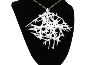 Abstract Mesh Pendant in White Natural Versatile Plastic