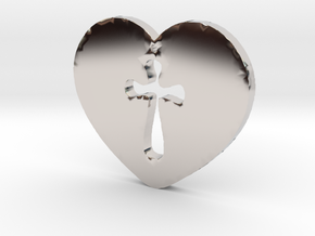 Cross Heart Pendant in Platinum