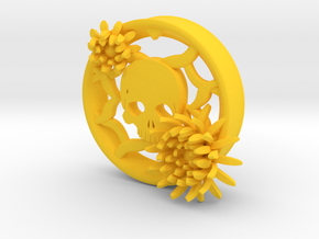 2 Inch Chrysanthemum And Skull Tunnel (left) in Yellow Processed Versatile Plastic