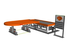 Shell Gas Station Z Scale in Smooth Fine Detail Plastic