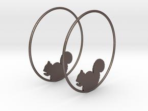 Squirrel Hoop Earrings 50mm in Polished Bronzed Silver Steel
