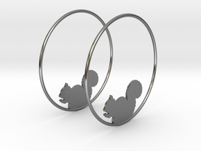 Squirrel Hoop Earrings 50mm in Polished Silver