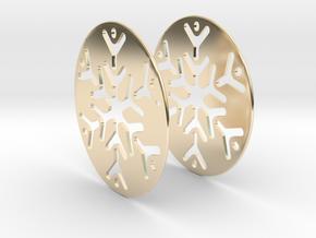 Snowflake 3 Hoop Earrings 50mm in 14K Yellow Gold