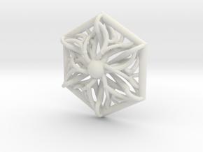 Hexagon Pendant in White Natural Versatile Plastic