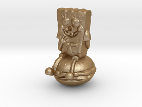 Spongebob on hamburger 2 in Matte Gold Steel