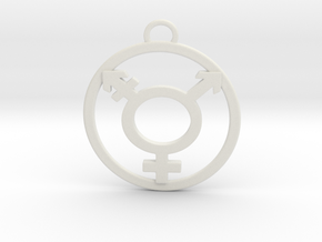 TransGender Pendant-Simple in White Natural Versatile Plastic