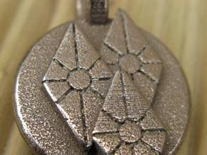 Diamonds Pendant in Polished Bronzed Silver Steel