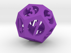 Pendant -dodecahedron2 in Purple Processed Versatile Plastic
