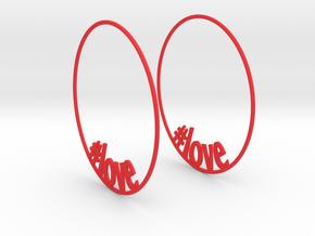 Hashtag Love Hoop Earrings 60mm in Red Processed Versatile Plastic