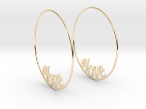 Hashtag Love Hoop Earrings 60mm in 14K Yellow Gold