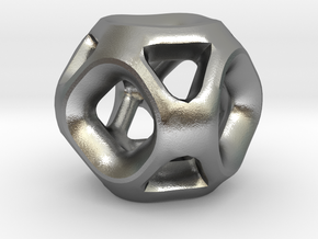 Geodesic Accent Sculpture in Natural Silver