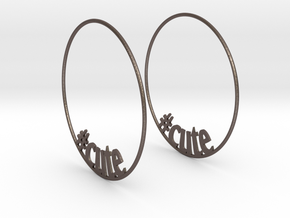 Hashtag Cute Big Hoop Earrings 60mm in Polished Bronzed Silver Steel
