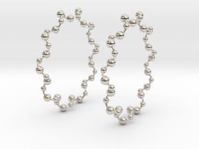 Molecule Big Hoop Earrings 60mm in Platinum
