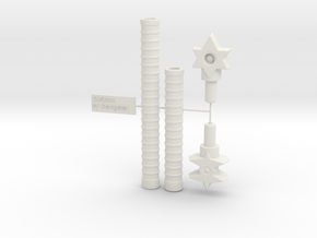 5mm - 8mm Gestalt: Adaptor Handle  in White Natural Versatile Plastic