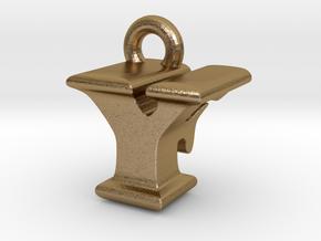3D Monogram - YFF1 in Polished Gold Steel