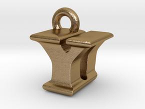 3D Monogram - YDF1 in Polished Gold Steel