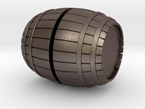 1/56th (28 mm) scale wooden barrel in Polished Bronzed Silver Steel