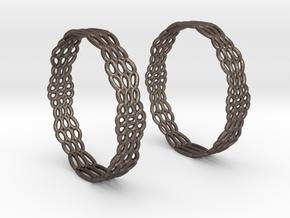 Wired Beauty 2 Hoop Earrings 50mm in Polished Bronzed Silver Steel