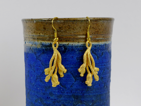 Ascilla Sponge earrings in Polished Gold Steel