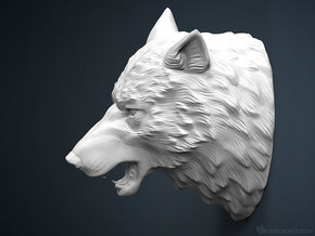 Wolf Head sculpture. WT-1. 15cm in White Strong & Flexible