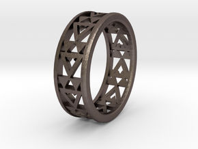 Simple Fractal Ring in Polished Bronzed Silver Steel