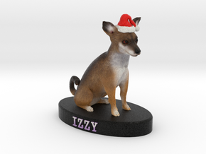 Custom Dog Figurine - Izzy (with red Santa hat) in Full Color Sandstone