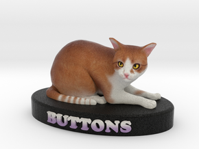 Custom Cat Figurine - Buttons in Full Color Sandstone