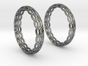 Wired Beauty 4 Hoop Earrings 30mm in Fine Detail Polished Silver