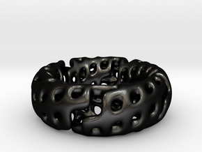 Volcanic Revival Ring in Matte Black Steel