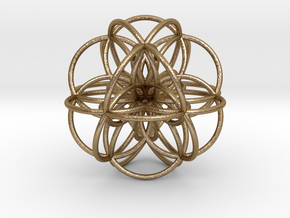 Seed of Life: Cuboctahedral Flower in Polished Gold Steel