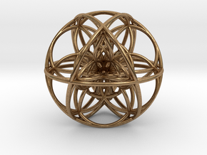 Cuboctahedral Flower of Life Sacred Geometry in Natural Brass