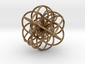 Cuboctahedral Flower of Live Circles - Sacred Geom in Natural Brass