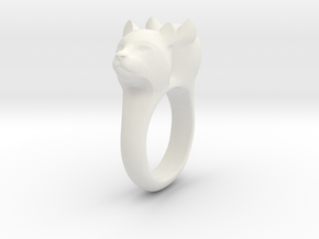 Bobcat Ring in White Natural Versatile Plastic