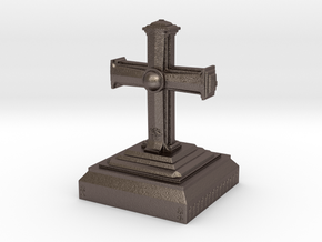 The Cross in Polished Bronzed Silver Steel