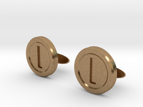 Mario Coin Cufflinks in Natural Brass