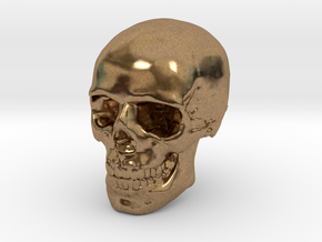 8mm 0.3in Human Skull for earring in Natural Brass
