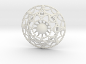 Mandala Flux Pendant in White Natural Versatile Plastic