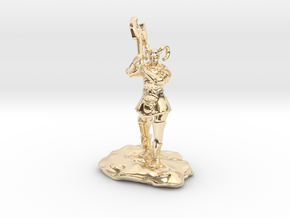 Tiefling Paladin Mini in Plate with Great Axe in 14K Yellow Gold