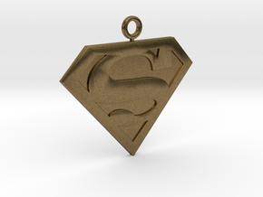 SuperMan Pendant in Natural Bronze