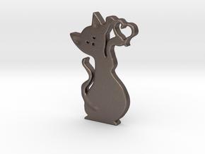 Gatto cuore 3cm in Polished Bronzed Silver Steel