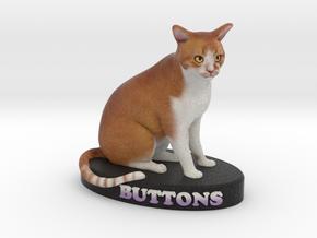 Custom Cat Figurine - Buttons in Full Color Sandstone