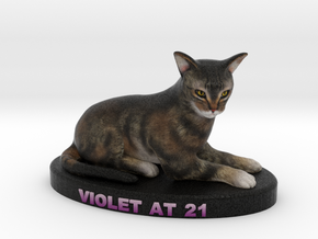 Custom Cat Figurine - Violet in Full Color Sandstone