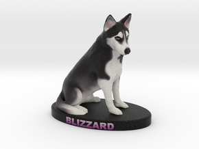Custom Dog Figurine - Blizzard in Full Color Sandstone