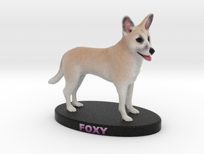 Custom Dog Figurine - Foxy in Full Color Sandstone