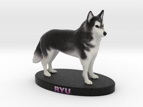 Custom Dog Figurine - Ryu in Full Color Sandstone