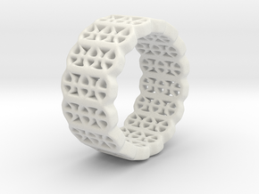 Grid Ring - EU Size 58 in White Natural Versatile Plastic