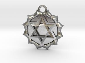 Anahata (Heart Chakra) Pendant in Natural Silver
