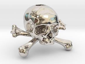 35mm 1.4in Keychain Skull & Bones Bead in Platinum
