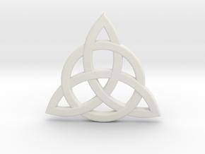 Triquetra Celtic Necklace Center Piece in White Natural Versatile Plastic