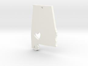I love Alabama Necklace Pendant in White Processed Versatile Plastic